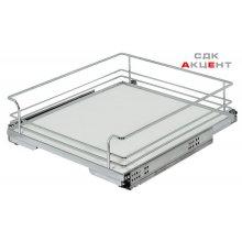 Внутрішня висувна поличка Arena Classic 527х488х125 мм сталь хром/біла ширина шафи 600 мм