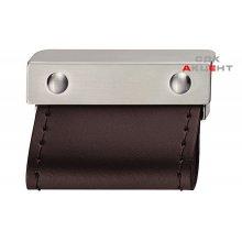 Ручка цамак колір: нержавіюча сталь / шкіра темно-коричнева 60х37мм