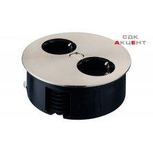 Поворотная розетка на 2 разъема с кабелем 2м, пластик / цамак цвет: серебристый