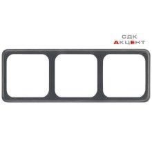 Рамка для выключателя и розеток, тройная, 166х60 мм, пластик, коричневый