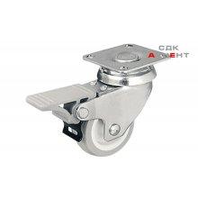 Мебельный ролик c стопором сталь оцинкованная / пластик серый 50 мм