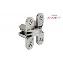 Петля SOSS скрытая стальная никелированная 19х95.3мм 180 градусов вес двери: 50кг